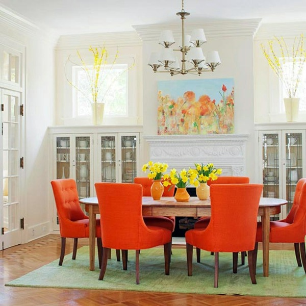 Cozy Dining Room With Orange Chairs And Fresh Flowers The Orange Color    Meaning, Effects And Household Equipment