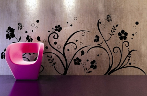 shiny metal surface inside extravagant modern wall decal wall design trends 2014