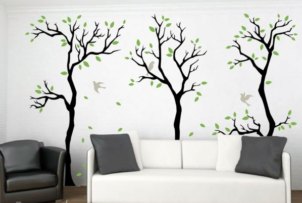 evergreen forest in the living room modern wall decal wall design trends 2014 - Design Wall Decal