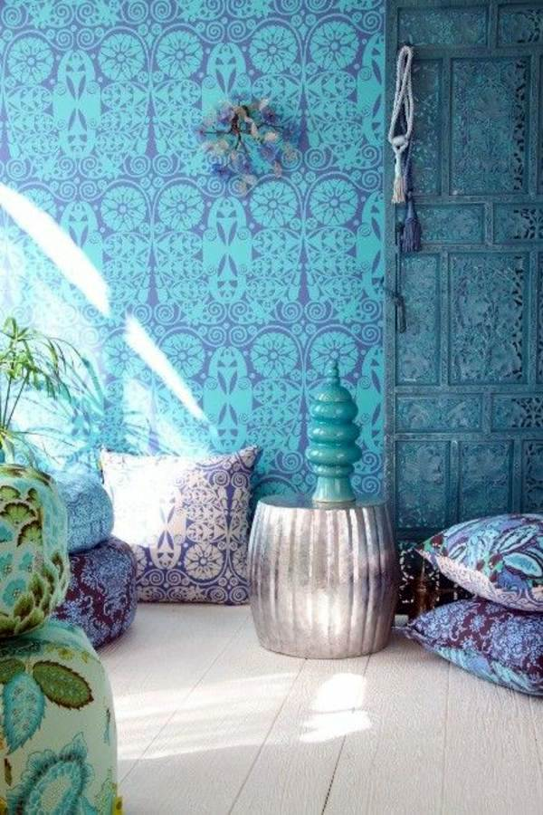 Blue Living Room Wallpaper Part   31: Furniture Ideas In Oriental Style  Blue Wallpaper