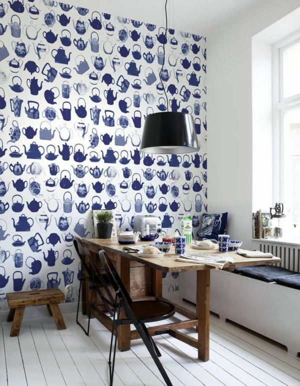 ... Blue Wallpaper   The Perfect Piped In Each Room