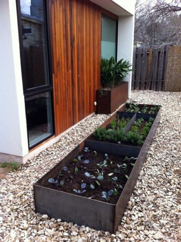 Modern Garden Design modern minimalist garden design low maintenance high impact garden design raised white wall beds grey decking 25 Trendy Ideas For Garden And Landscape Modern Garden Design