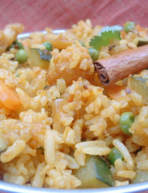 Indian Recipe Pulao rice with vegetables