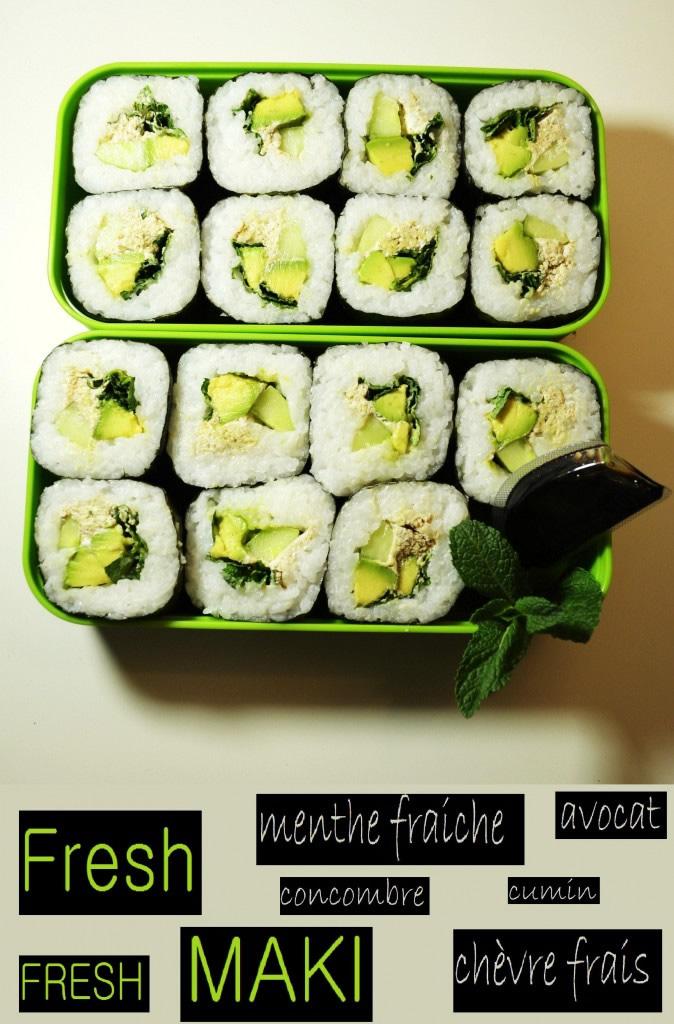 Maki Fresh: Fresh Mint / goat cheese / cucumber / lawyer / cumin