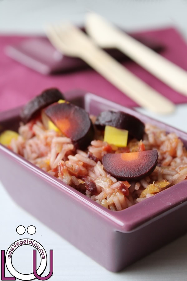 Risotto of purple and yellow carrots