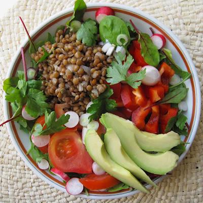 Salad and vegetables lentillons