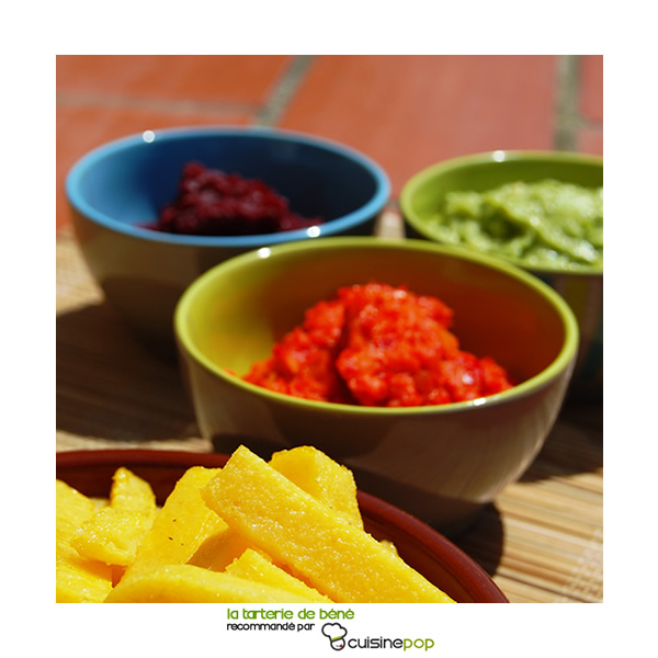 Spread beets, peppers and guacamole