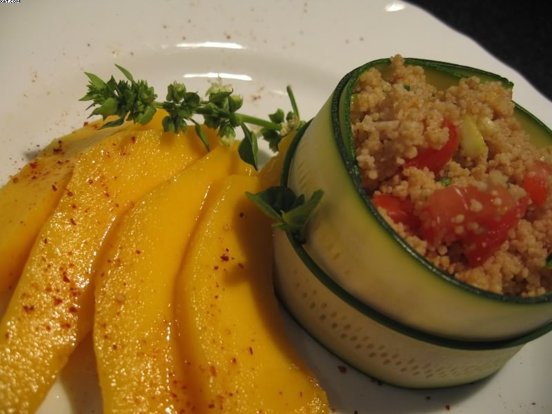 Timpani fresh zucchini and basil mango tabbouleh