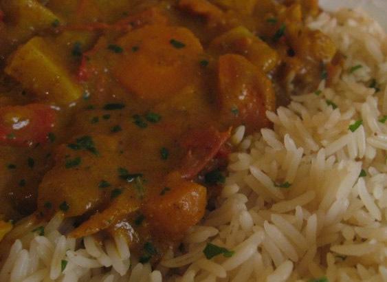 Vegetable Korma sauce and basmati rice