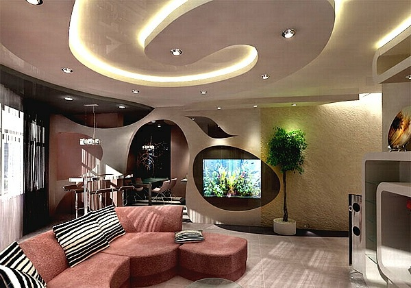 Ceiling design in living room - amazing, suspended ...