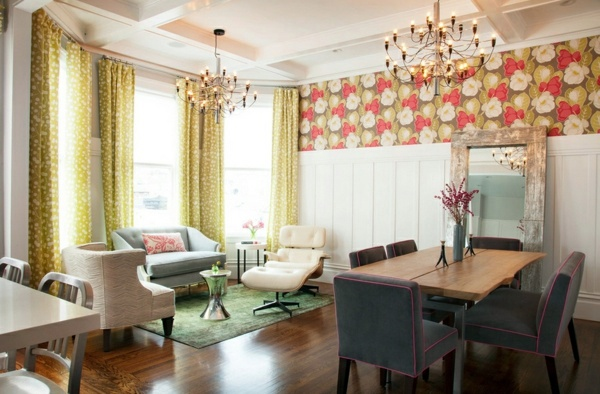 Fabric and wallpaper with floral design - Great Interior Ideas for Your Home