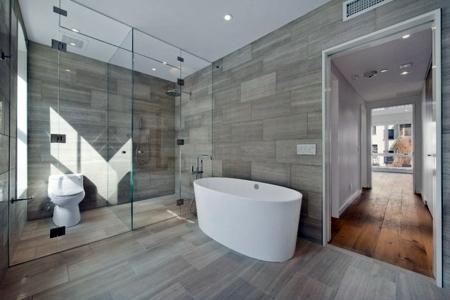 Fliesen - Combination of floor tiles and hardwood flooring - seamless transition between rooms