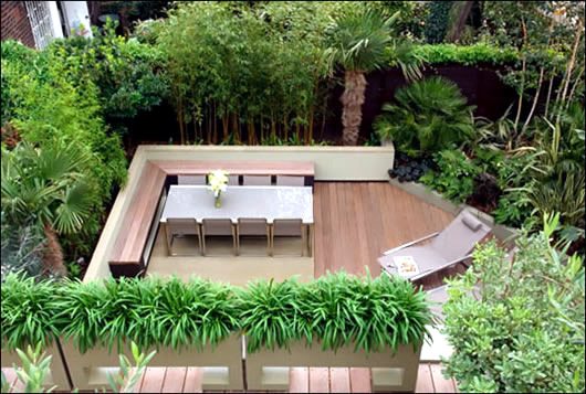 A garden on the roof terrace