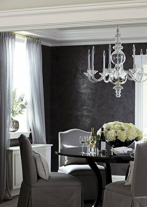 Wohnideen - The black wallpaper creates an artistic living environment in your home