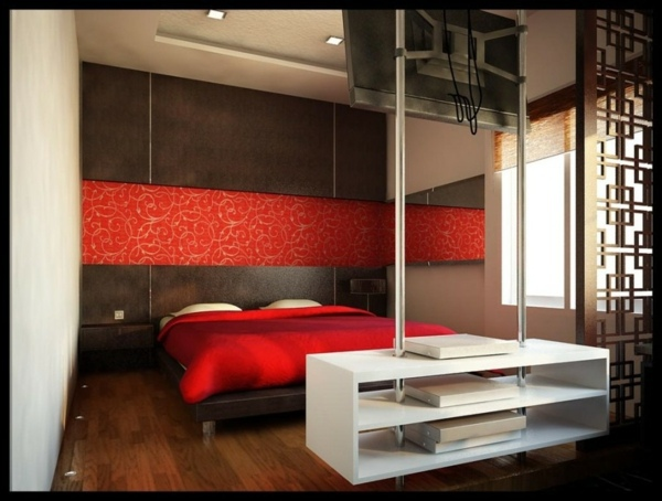 Schlafzimmer - Minimalist Red Bedroom - Vibrant red color