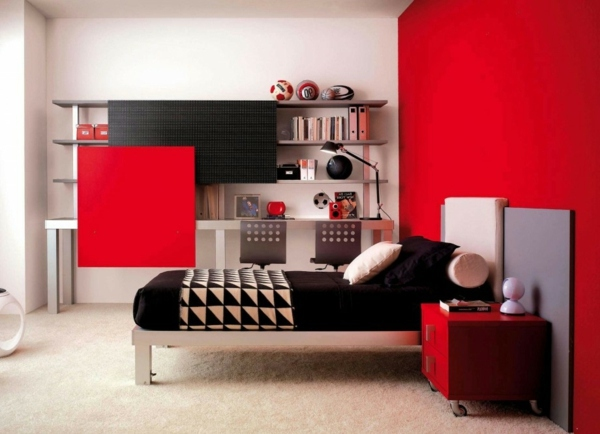 Minimalist Red Bedroom - Vibrant red color