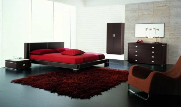 Schlafzimmer komplett - Minimalist Red Bedroom - Vibrant red color
