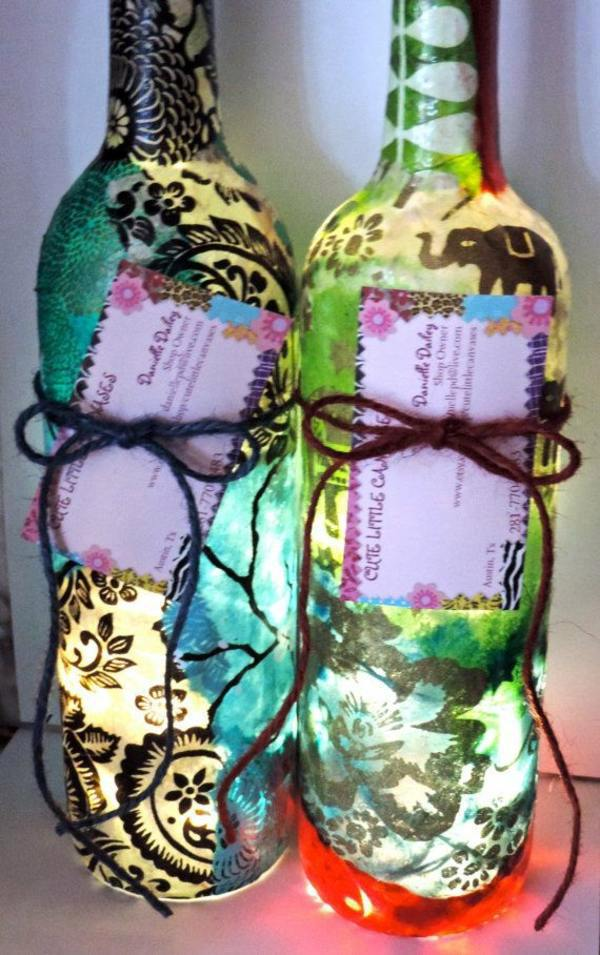 DIY Lamp from Wine Bottles creative decorating ideas