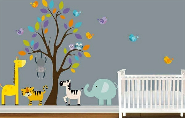 Wandtattoo - Baby Room Wall - 15 Wall Art Ideas with animals