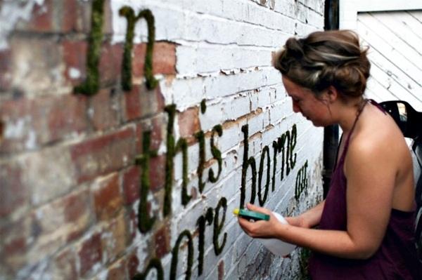 "Create moss graffiti and host a ""green"" message"