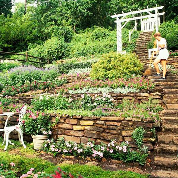 Landscaping on a slope - How to make a beautiful hillside ... on Sloped Yard Landscaping Ideas id=33184