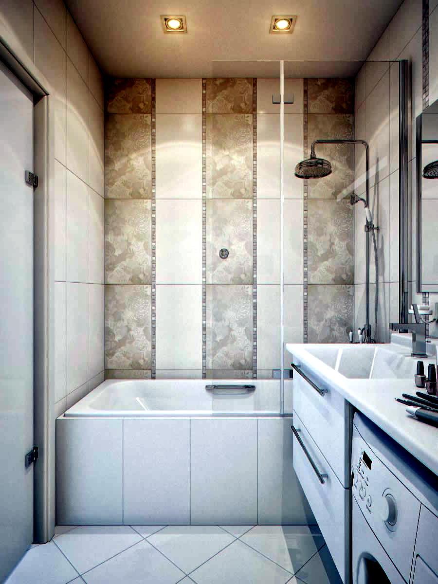 Modern Built-in bath tub with space saving design