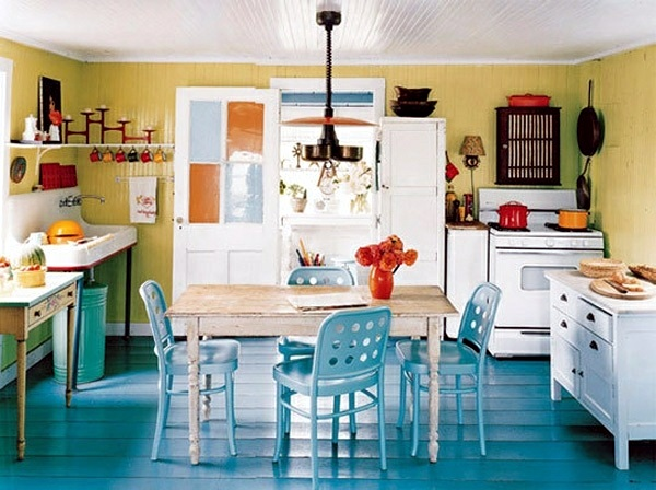 Warm Colors Contrast With The Blue Chairs And Floor Feng Shui Kitchen Heart Of Home
