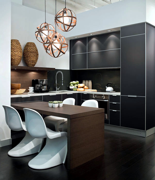 black kitchen furniture and fancy details for your