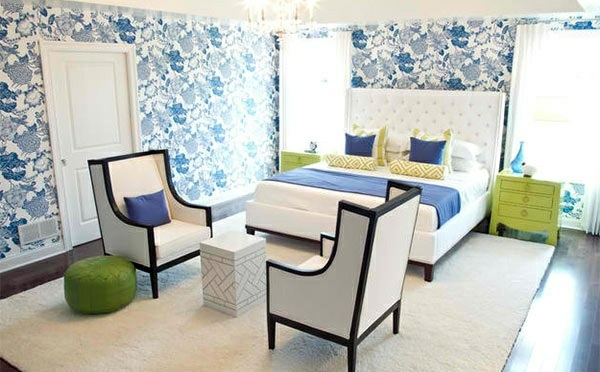 Schlafzimmer Ideen - Bedroom colors ideas - blue and bright lime green