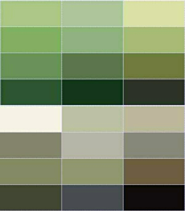 Green Tint Color Chart Wall Pick The Right Shades For Your Decoration