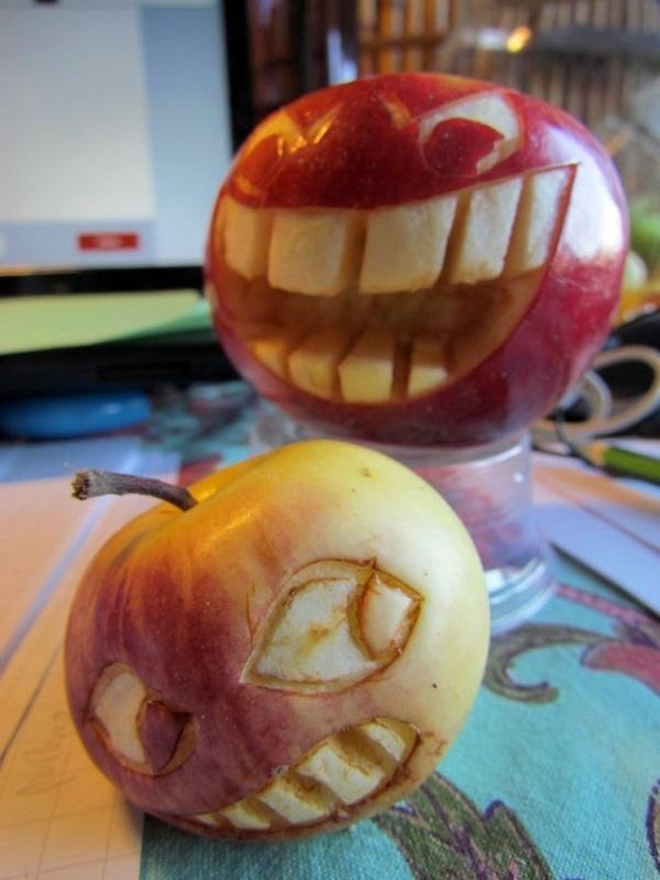 Dekoideen - Decorative fruit carving - apple art and expressive faces