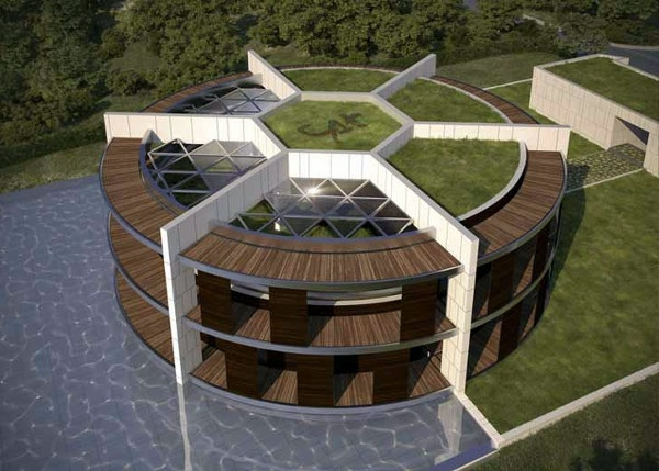 Architektur - Provided sustainable eco-house in the form of football for Lionel Messi