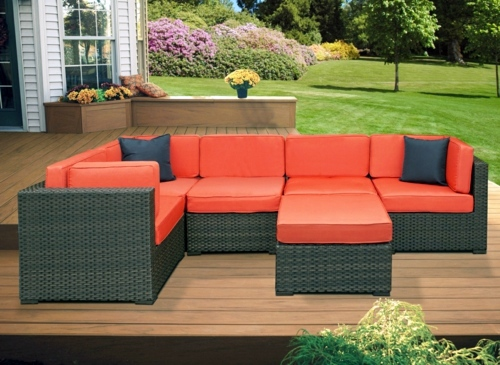 minimalist modern landscape design with rattan sofa   12 Tips for modern design in the garden or in the backyard ...