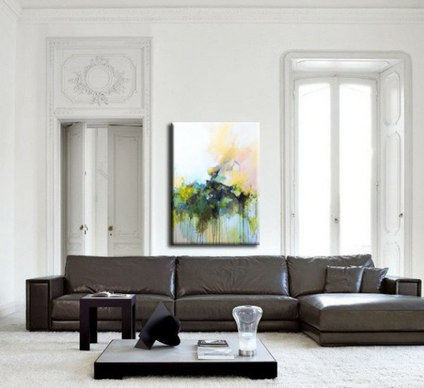 Creative wall design with abstract art