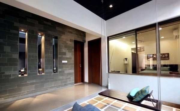 Modern house with natural stone walls and chic décor