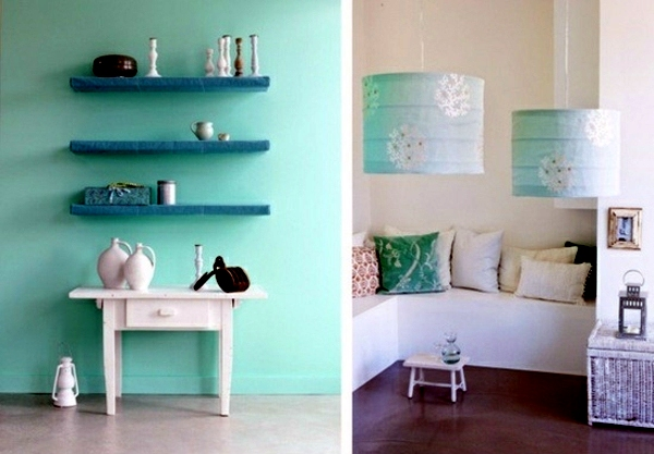 Wandgestaltung - Wall color mint green gives your living room a magical flair