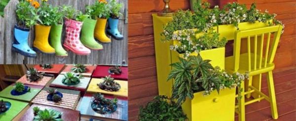 Bastelideen - On Funny Gartendeko yourself - DIY Planters