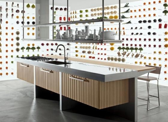 Designer kitchen island - discreet and practical