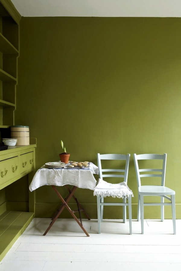 Rustic Dining Room In Olive Green Wall Color Rela The Senses And Fights Against Daily Stress