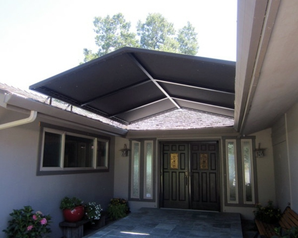 House Awnings - Canopies, canopy and front door glass and wood