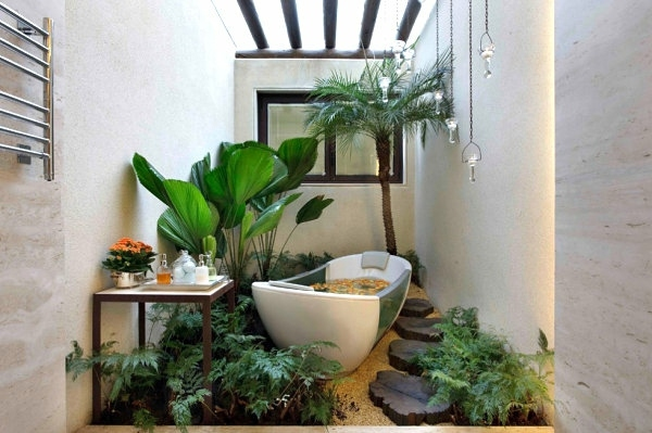 Garten & Pflanzen - Interior design ideas - green houseplants in the bathroom