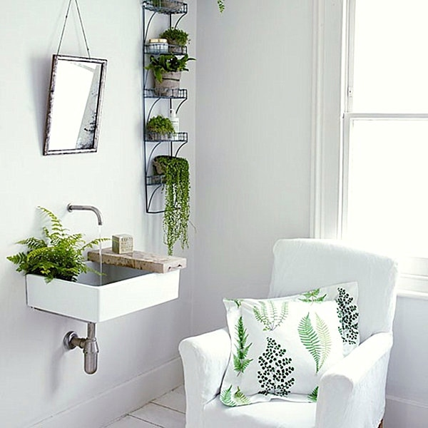Interior design ideas - green houseplants in the bathroom