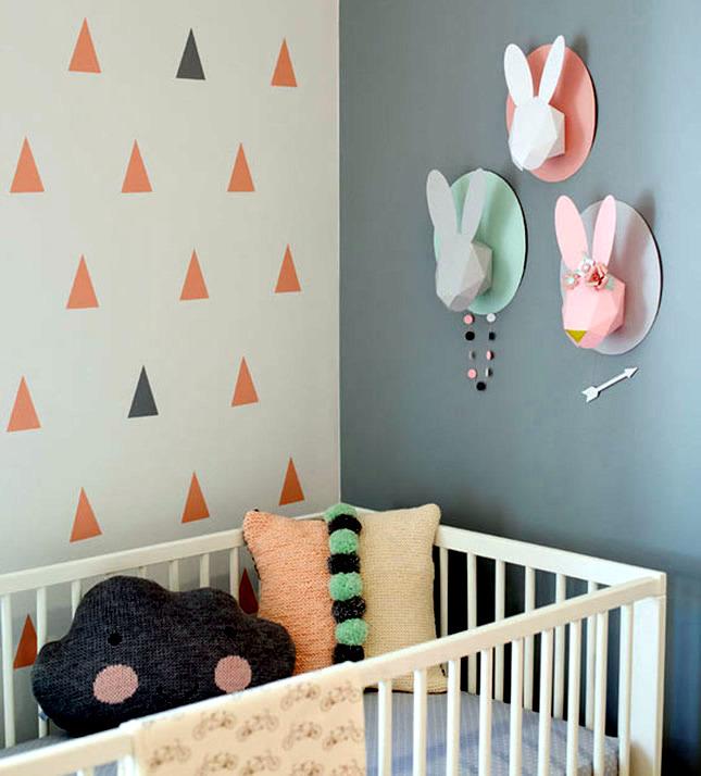 Kinderzimmer - Elegant Kids Room Decoration with pastel colors and animal motifs
