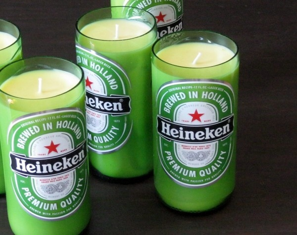 Using recycled glass bottles as DIY candles conditions