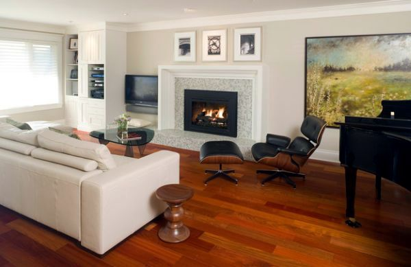 Eames walnut stool and elliptical coffee table - timeless design classics