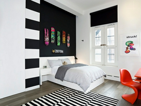 Bold bedroom color ideas with black and white accents ...