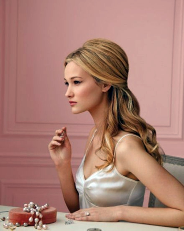 Frisuren - Bridal hairstyle half open - come on in style under the hood!