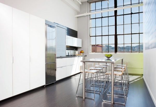 An industrial steel table with modern elegance