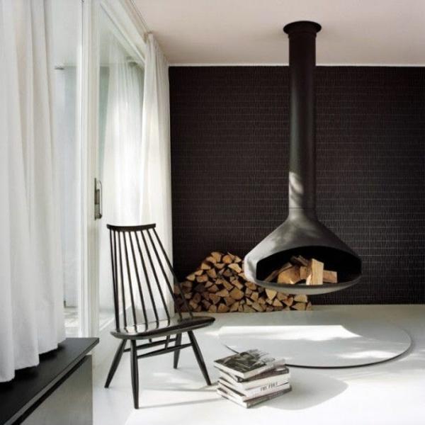 Hanging Stove Modern Luxury Fireplaces Interior Design Ideas