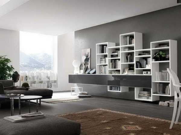 Modular Wall Shelves 30 Interior Design Ideas For Paint In Shades Of Gray Trendy Color